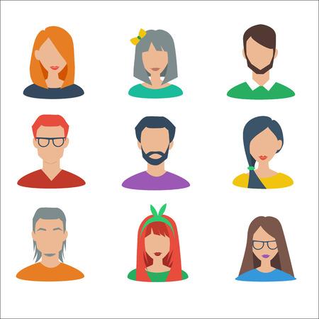 Set van vector avatars. Mannelijke en vrouwelijke karakter.