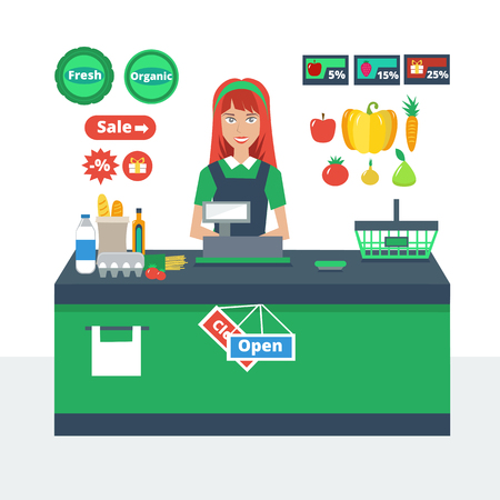 Cashier girl prepares purchasing at supermarket store. Supermarket icons. Colorful vector illustration.