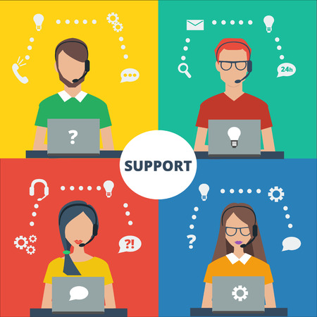 Call center icons, avatar of mans and womans wearing headsets. Coloful vector illustration of support service.