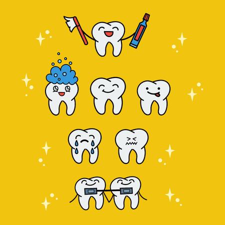 cavity braces: Cartoon children vector illustration. Various cartoons cute teeth characters. Dental collection.