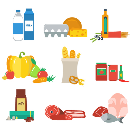 supermercado: Vector plana conjunto de productos de supermercado. Variedad de alimentos en el supermercado.