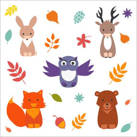 animales del bosque: Conjunto de animales del bosque lindo. Vector recogida plana. Vectores