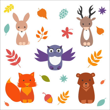 woodland: Set of  cute forest animals. Vector flat collection.