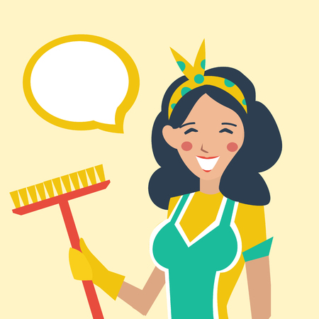 retro housewife: Colorful flat vector illustration of retro housewife with Broom.