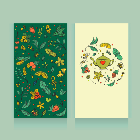 Tea party card design. Vector illustration. Tea Branding Design. Greeting floral card, invitation. Herbal tea.