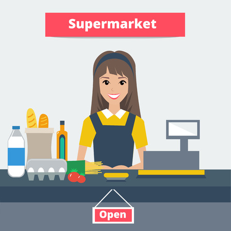 Cashier girl prepares purchasing at supermarket store. Colorful illustration.