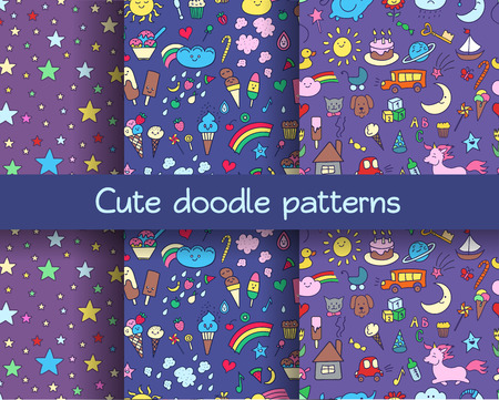 Seamless patterns set with  doodle elements in children style: animals, nature, objects, sweets. Cute kids backgrounds. Illustration