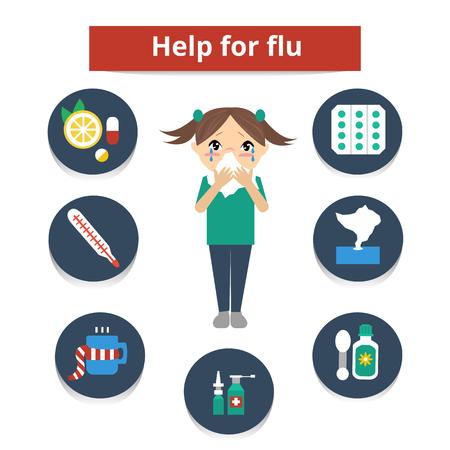 gripa: Chica con síntomas de la gripe sonarse la nariz y un conjunto de iconos de la medicina de la gripe. Conjunto de elemento de infografía. illustration.Help plana para la gripe y el frío.