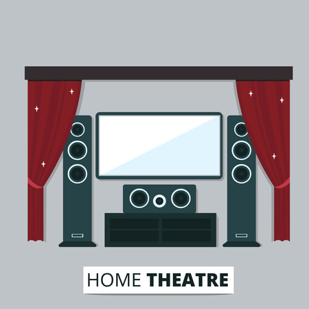 red curtain: flat illustration of modern home theater with vintage red curtain. Home cinema media entertainment system. Illustration