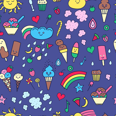 cotton candy: Seamless pattern with doodle elements in children style: rainbow, candies, fruit, sweets