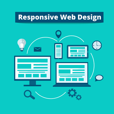 Responsive web design on different devices - digital tablet, desktop computer, smartphone, laptop. flat illustration.