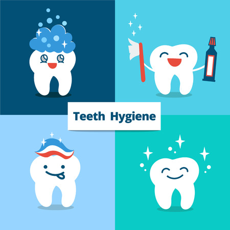 Tooth hygiene set.  happy cute tooth.Teeth care and hygiene concept. flat illustration. Vettoriali