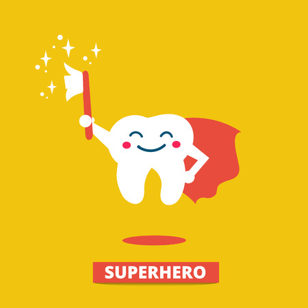 odontologa: Los dientes con cepillo de dientes. feliz cuidado tooth.Teeth lindo y concepto de higiene. ilustración plana.