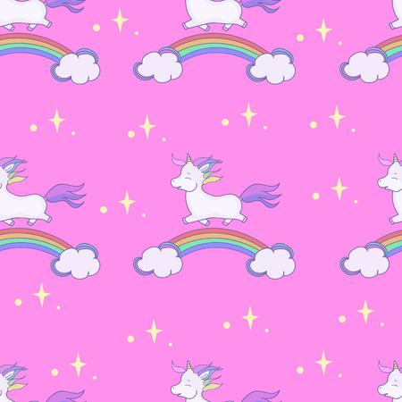 cartoon children seamless patterns illustration. Cute unicorn and rainbow. Ilustrace