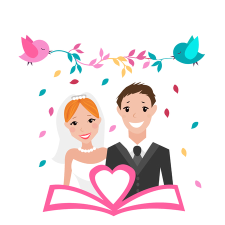 official: Groom and bride on a white background and two birds holding branches with colorful leaves. flat illustration.