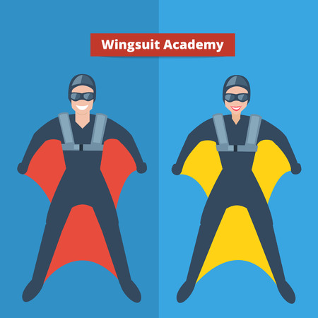 gliding: Man and woman in wingsuit costume.  flat illustration.Wingsuit academy concept.