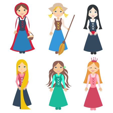 fairy cartoon: Conjunto de hermosas princesas de los cuentos de hadas cl�sicos del cuento. Peque�os personajes lindos. Ilustraci�n conjunto