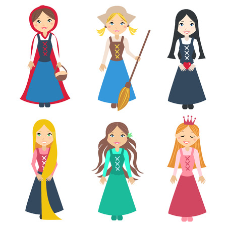 cinderella dress: Set of Beautiful  princesses from classic fairy tale stories. Cute little  characters. illustration set Illustration