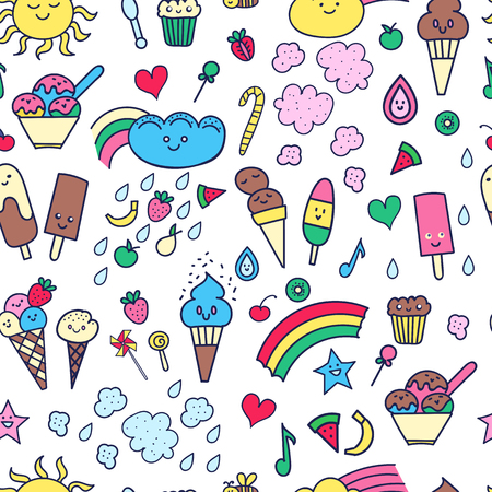 Seamless pattern with  doodle elements in children style: rainbow, candies, fruit, sweets Illustration