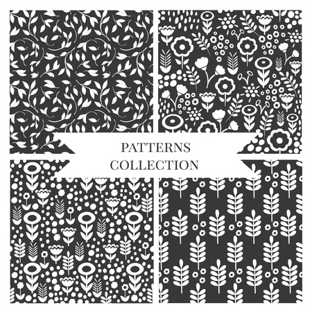 wallpaper floral: seamless flower and leaves pattern set. Floral  texture and background. Can be used for wallpaper, pattern fills, web page background, surface textures. Illustration