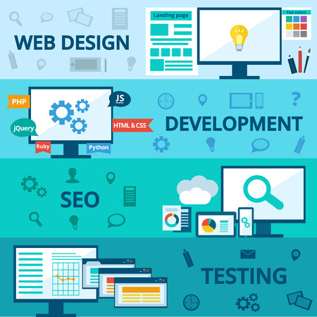 web browser: flat set of concept web development elements. Stages of web development. Icons for web design, application development,web programming, seo, testing.