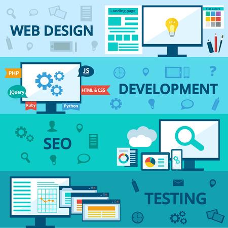 flat set of concept web development elements. Stages of web development. Icons for web design, application development,web programming, seo, testing.
