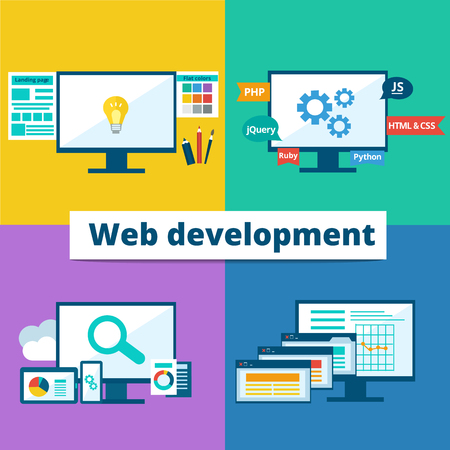 landing: flat set of concept web development elements. Stages of web development. Icons for web design, application development,web programming, seo, testing.