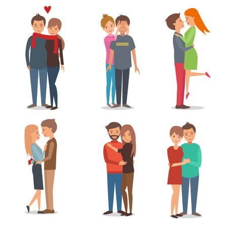 happy couple: Boys and girls  couple in love.  People and love, family. Vector illustration. Design and inforgaphic elements isolated on white background.