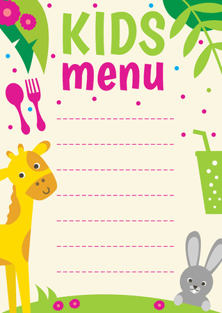 cute animal: Cute colorful Kids menu template with cartoon animals.
