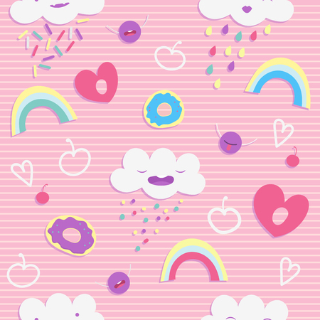 confectionery: seamless pattern with cute cartoon  smiling characters. Sweets and donats pattern. Cute children pattern.