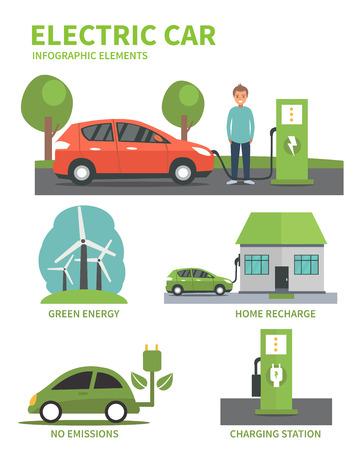 Electric car flat infographic elements. Man charging Electric car on charging station. Electric car infographic icons. illustration isolated on white background. Illustration