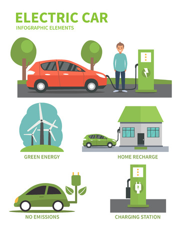 Electric car flat infographic elements. Man charging Electric car on charging station. Electric car infographic icons. illustration isolated on white background. Vettoriali