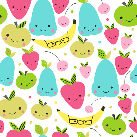 baby face: seamless pattern with cute smiling fruits. Cute children pattern.