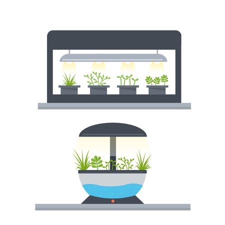 Het concept van Indoor tuin. Lichte groei tuin. Stock Illustratie