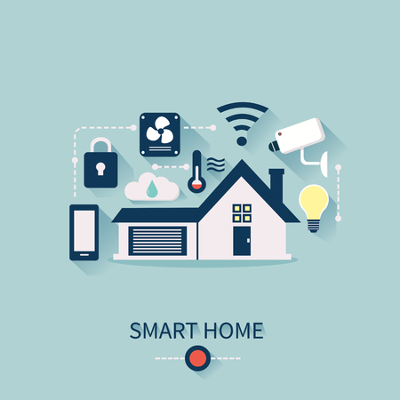 centralized: concept of smart house technology system with centralized control. Smart Home Infographic elements.