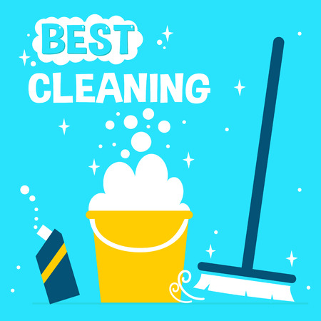 wet cleaning: Concept background for cleaning service. Vector Cleaning supplies on bright background.