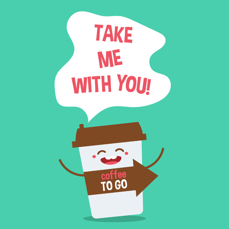 coffee to go: Cartoon comic coffee cup. Take coffee with you. Vector cartoon illustration. Coffee to go. Illustration