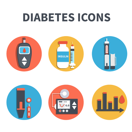 insulin syringe: Vector diabetes infographic elements isolated on white background. Diabetes equipment icons set.