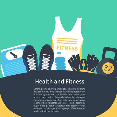 forme et sante: Vector fitness Gym conception de la bannière. Concept de la santé et de remise en forme définie. Illustration