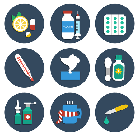 cough syrup: Vector set of Influenza medicine icons. Set of infographic element. Vector flat icons isolated on white background. Help for flu and cold.