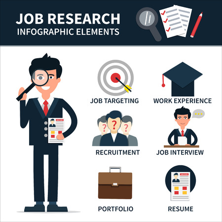 headhunter: Job research vector infographic element. Man with magnifier and resume in hands. Illustration