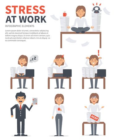 sleepiness: Business woman stress day at work. Vector stress infographic.