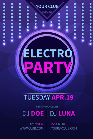 dub: Vector electro party flyer template. Abstract party invitation flyer. Party flyer, banner, template design. Illustration