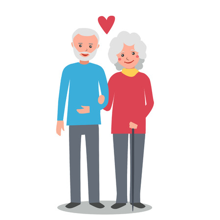 couple together: Old man and woman stand together arm-in-arm and smiling. Senior couple in love. Elderly man and woman. Vector illustration isolated on white background. Illustration