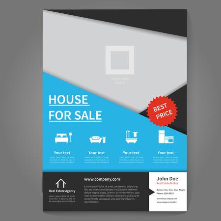 broker: Inmobiliario volante corredor y la plantilla del cartel. concepto folleto. Vectores