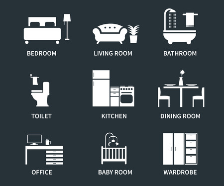 Home interior design icons for bedroom, living room, bathroom, kitchen, dining room, home office, wardrobe, baby room. Vector icons set.