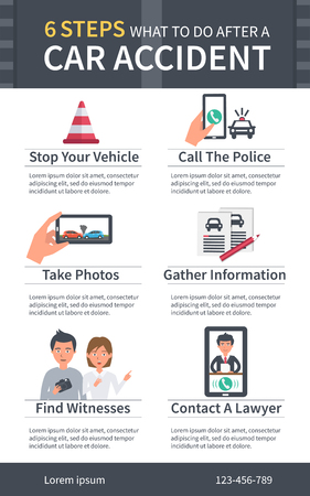injury: Vector ?ar Accident infographic. Steps what to do after a car accident. Insurance and law infographic.