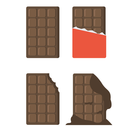 wrapper: Flat chocolate bars icons. Vector chocolate bars isolated on white background. Chocolate bar with wrapper, melted chocolate bar, bitten chocolate bar. Illustration