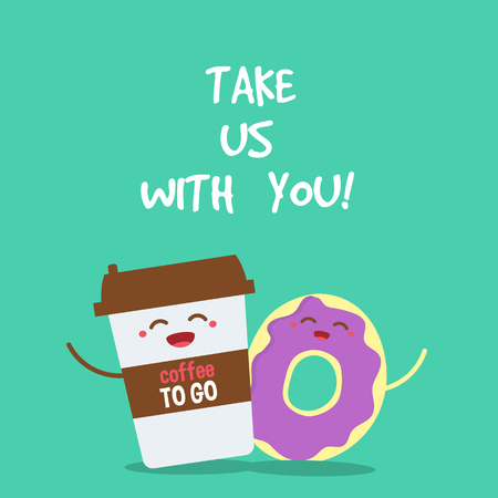 to go cup: Cartoon comic coffee cup and donut. Take coffee and donut with you. Vector cartoon illustration. Coffee to go.