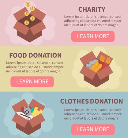 Donatie vectorconcept illustraties. Liefdadigheid, voedsel doneren, kleding donatie. Donatie dozen. Concept voor web banners, websites, infographics.